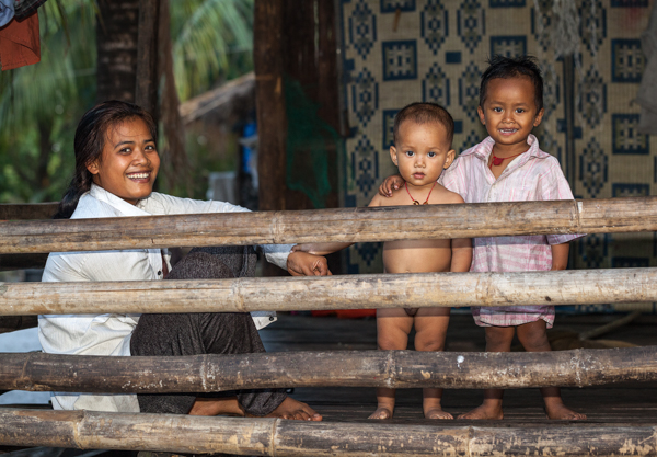 Mother and Children, Prek Svay, Koh Rong, Cambodia